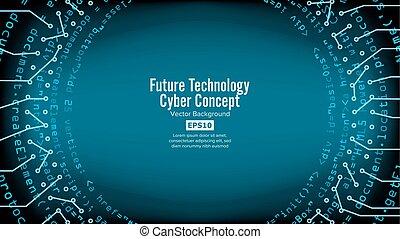 bleu, network., vector., résumé, technologique, système, conception, fond, numérique, sécurité, électronique, futuriste, print.