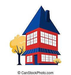 bleu, niveau, maison, deux, toit, grand, rouges