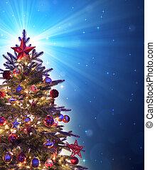 bleu, noël, briller, arbre