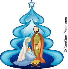 bleu, noël, famille, saint, arbre, isolé, scène, nativité, joseph, fond, jésus, marie