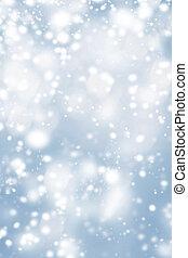 bleu, noël, fond, à, glacial, flocons neige, et, scintillement, bokeh, stars., résumé, incandescent, brouillé, lumières