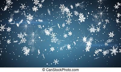 bleu, noël, fond, chute neige