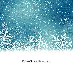 bleu, noël, hiver, fond, neige émiette, blanc