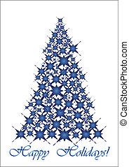 bleu, noël, tree-, étoiles