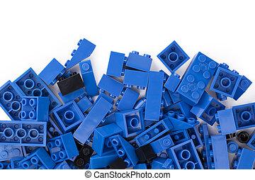 bleu, noir, blocs, lego