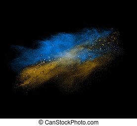 bleu, noir, isolé, explosion, jaune, poudre