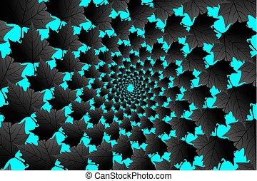 bleu, noir, sycomore, feuille, fond