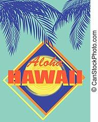 bleu, noix coco, couleur, soleil, feuilles, néon, hawaï, aloha, t-shirt, impression, paume, jaune, orange, menthe, lettrage