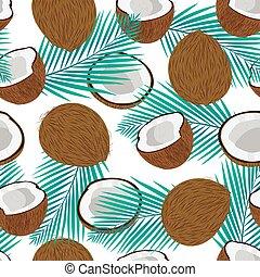 bleu, noix coco, modèle, seamless, illustration, feuilles, vecteur, paume, morceau, entier