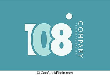 bleu, nombre, 108, conception, cyan, logo, blanc, icône