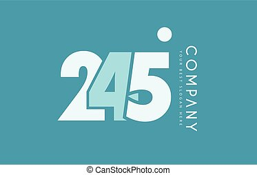 bleu, nombre, 245, conception, cyan, logo, blanc, icône