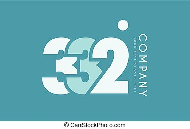 bleu, nombre, 332, conception, cyan, logo, blanc, icône