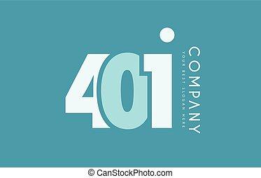 bleu, nombre, conception, 401, cyan, logo, blanc, icône