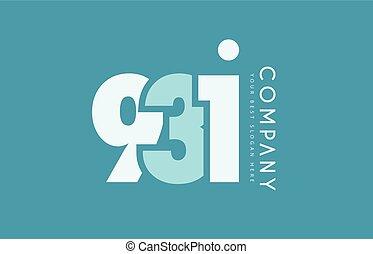 bleu, nombre, conception, cyan, logo, 931, blanc, icône