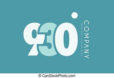 bleu, nombre, conception, cyan, logo, blanc, 930, icône