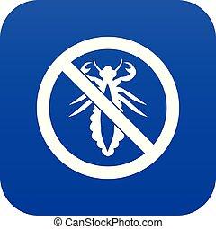 bleu, non, pou, signe, numérique, icône