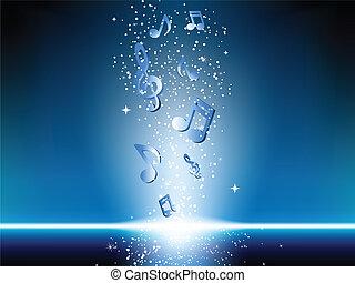 bleu, notes, musique, fond, étoiles