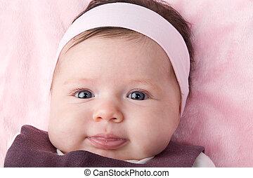 bleu, nouveau né, yeux, adorable, bébé
