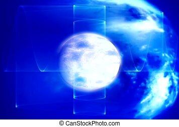 bleu, nouvelles, atmosphère