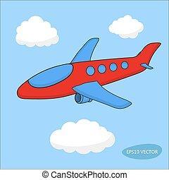 bleu, nuages, avion, fond, dessin animé, rouges