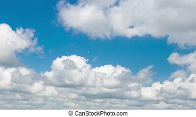 bleu, nuages blancs, ciel, timelaps