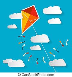bleu, nuages, cerf volant, ciel, illustration, papier,...