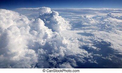 bleu, nuages, ciel, aircarft, avion, vue