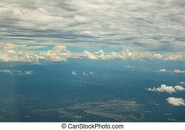 bleu, nuages, ciel, avion., au-dessus, vue