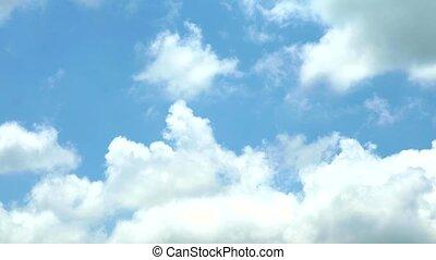 bleu, nuages, ciel, blanc, en mouvement, défaillance temps