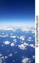 bleu, nuages, ciel clair, fenêtre, au-dessus, avion, jour, vue