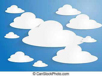 bleu, nuages, ciel, dos, papier, blanc
