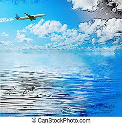 bleu, nuages, ciel, ensoleillé
