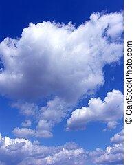 bleu, nuages, ciel, fond