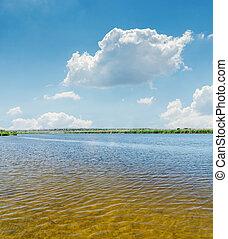 bleu, nuages, ciel, haut, eau, fin, rivière