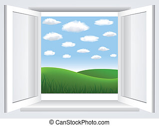 bleu, nuages, ciel, hiil, fenêtre, vert