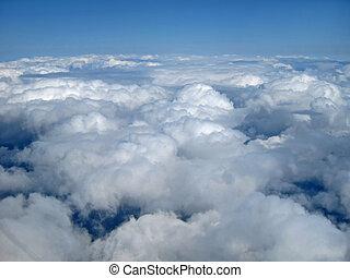 bleu, nuages, ciel, mi,  air, vue