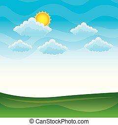 bleu, nuages, collines, nature, ciel, vert, prés, paysage