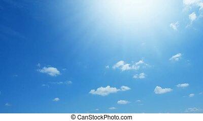 bleu, nuages, défaillance, ciel, temps, blanc