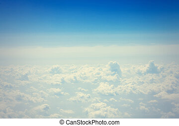 bleu, nuages, espace, ciel, fond, copie