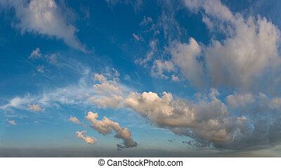 bleu, nuages, fantastique, ciel, contre
