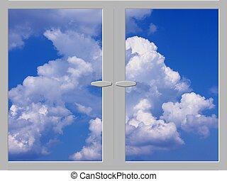 bleu, nuages, fenêtre, ciel
