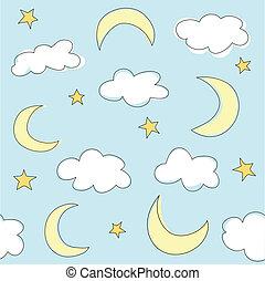 bleu, nuages, fond, lunes