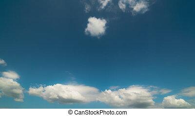 bleu, nuages gris, sky., sur, intensif, blanc, mouvement