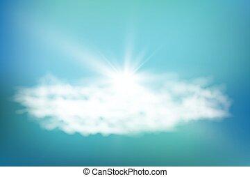 bleu, nuages, illustration., réaliste, soleil, flare., lentille, arrière-plan., vecteur, briller, ciel