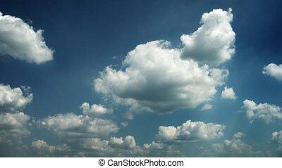bleu, nuages, lapse., ciel, en mouvement, temps
