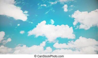 bleu, nuages mouvement, ciel