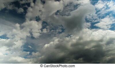 bleu, nuages mouvement, sky.