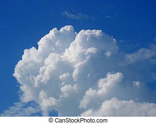 bleu, nuages, pelucheux, ciel, cumulus, blanc