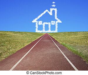 bleu, nuages, piste, maison, ciel, forme, courant