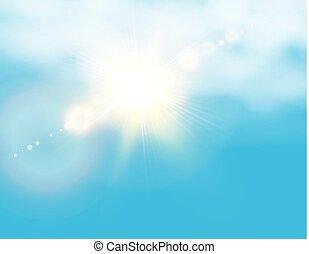 bleu, nuages, réaliste, soleil, flare., illustration, lentille, arrière-plan., vecteur, briller, ciel